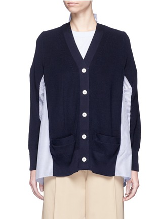 Main View - Click To Enlarge - SACAI - Stripe panel cotton cardigan