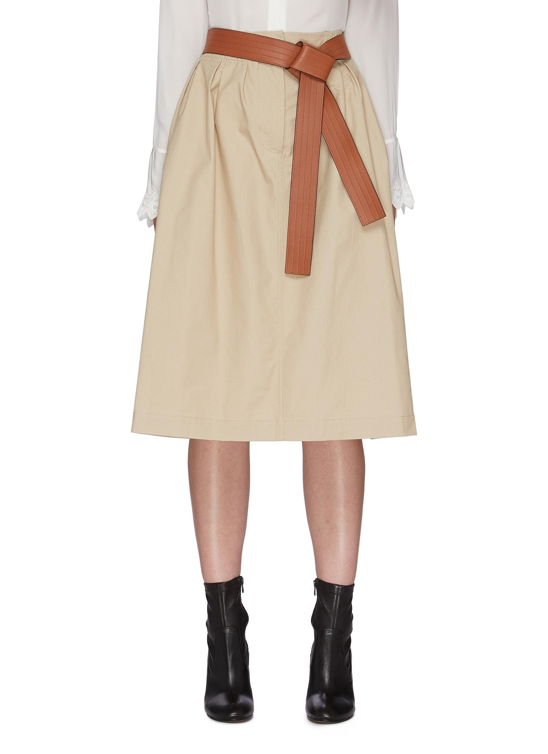 Loewe Cottons BELTED A-LINE COTTON MIDI SKIRT