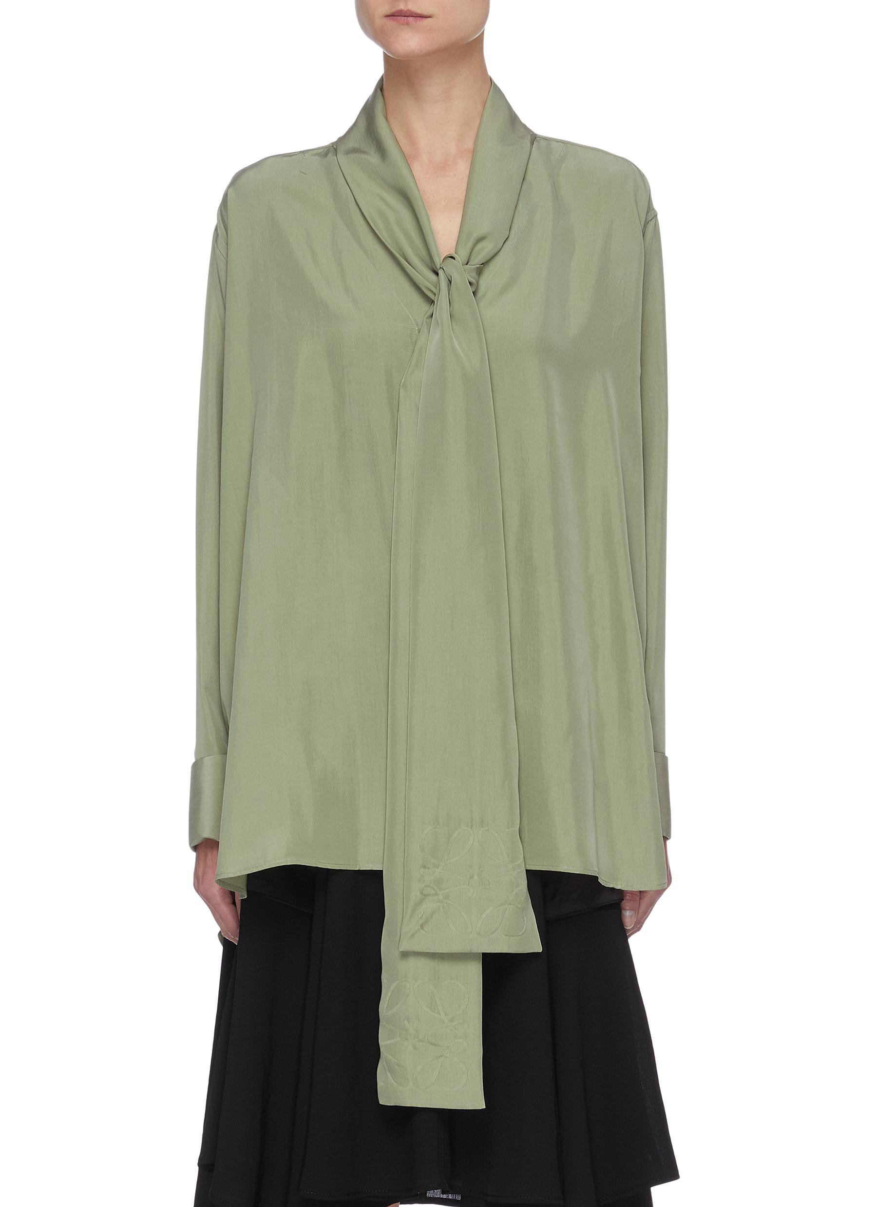 Loewe ANAGRAM EMBROIDERED LAVALIERE SCARF SILK BLOUSE