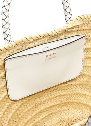 Detail View - Click To Enlarge - MIU MIU - 'Palmetto' leather handle raffia handbag
