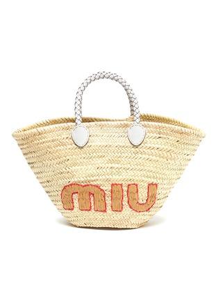 Main View - Click To Enlarge - MIU MIU - 'Palmetto' leather handle raffia handbag