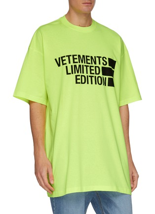 Front View - Click To Enlarge - VETEMENTS - Oversize Logo Print Cotton T-shirt