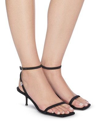 Figure View - Click To Enlarge - ALEXANDERWANG - 'Jessie' Crystal Embellished Logo Ankle Nylon Strap Heeled Sandals