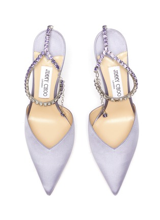 Detail View - Click To Enlarge - JIMMY CHOO - Saeda' crystal anklet chain satin pumps