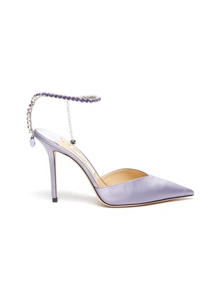 Main View - Click To Enlarge - JIMMY CHOO - Saeda' crystal anklet chain satin pumps