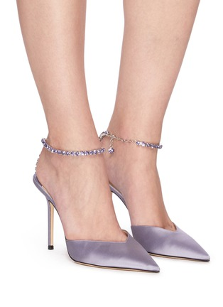 Figure View - Click To Enlarge - JIMMY CHOO - Saeda' crystal anklet chain satin pumps