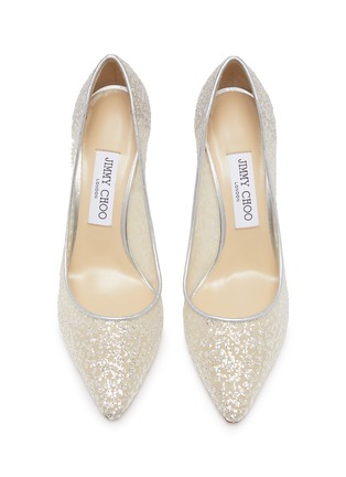 Detail View - Click To Enlarge - JIMMY CHOO - ROMY 85' POINT TOE COARSE GLITTER PUMPS