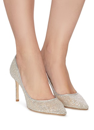Figure View - Click To Enlarge - JIMMY CHOO - ROMY 85' POINT TOE COARSE GLITTER PUMPS