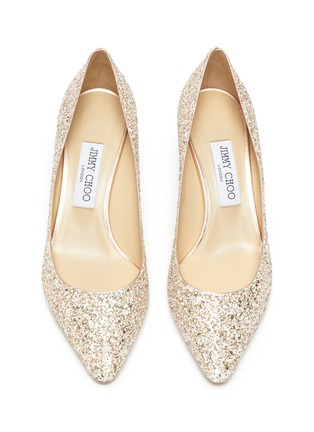 Detail View - Click To Enlarge - JIMMY CHOO - Romy' point toe coarse glitter pumps