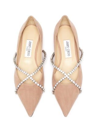 Detail View - Click To Enlarge - JIMMY CHOO - Genevi' criss-cross crystal chain ballerina flats