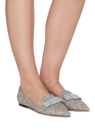 Figure View - Click To Enlarge - JIMMY CHOO - Gala' coarse glitter pointed toe flats
