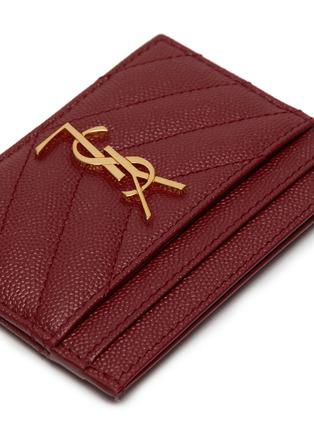 Detail View - Click To Enlarge - SAINT LAURENT - Monogram grain calfskin leather cardholder