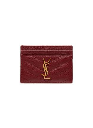 Main View - Click To Enlarge - SAINT LAURENT - Monogram grain calfskin leather cardholder