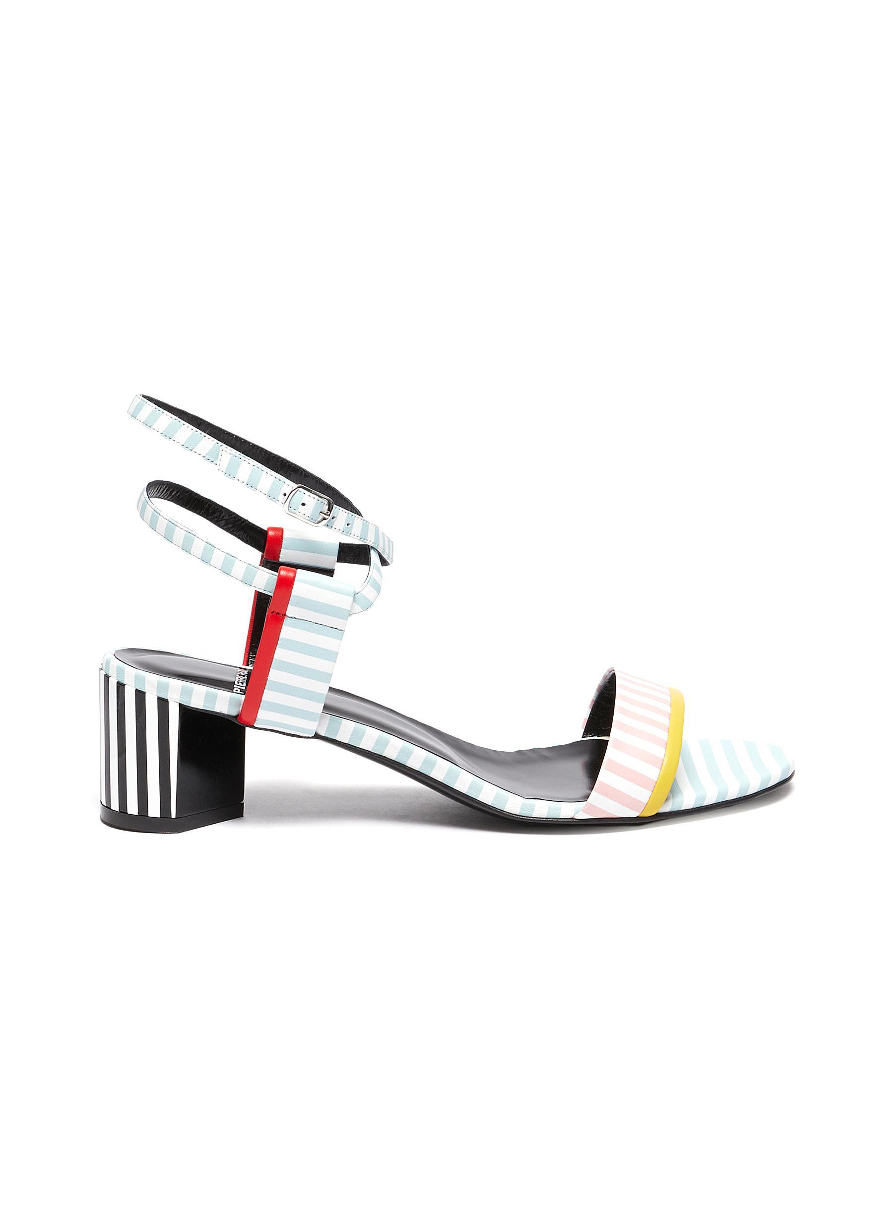 Pastel stripe leather sandals - PIERRE HARDY - Modalova