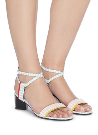 Figure View - Click To Enlarge - PIERRE HARDY - Pastel stripe leather sandals