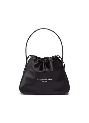 Main View - Click To Enlarge - ALEXANDERWANG - 'Ryan' Logo Print Top Handle Drawstring Satin Bag