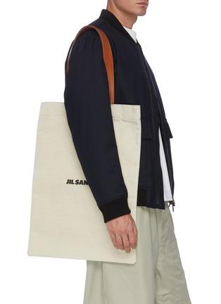 Figure View - Click To Enlarge - JIL SANDER - Logo print canvas shopper tote bag
