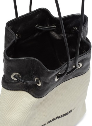 Detail View - Click To Enlarge - JIL SANDER - Leather panel drawstring canvas bag