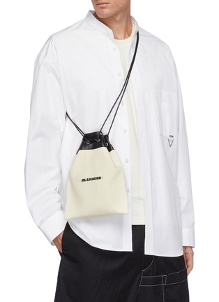 Figure View - Click To Enlarge - JIL SANDER - Leather panel drawstring canvas bag