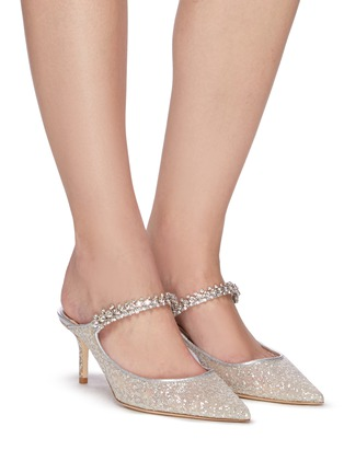 Figure View - Click To Enlarge - JIMMY CHOO - 65 Bing' glitter tulle mules