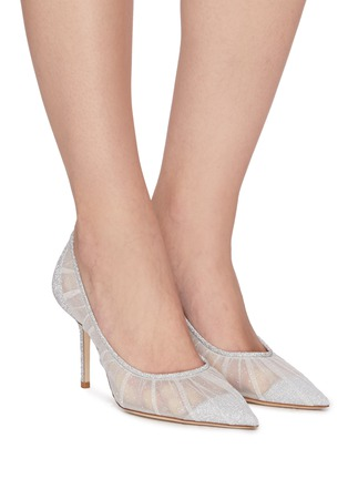 Figure View - Click To Enlarge - JIMMY CHOO - Love 85' glitter tulle pumps