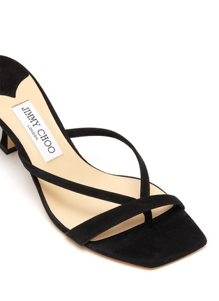 Detail View - Click To Enlarge - JIMMY CHOO - 'Maelie' Thin Strap Suede Curved Heel Sandals