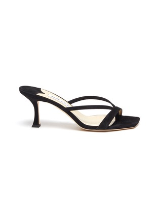 Main View - Click To Enlarge - JIMMY CHOO - 'Maelie' Thin Strap Suede Curved Heel Sandals