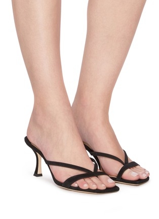 Figure View - Click To Enlarge - JIMMY CHOO - 'Maelie' Thin Strap Suede Curved Heel Sandals
