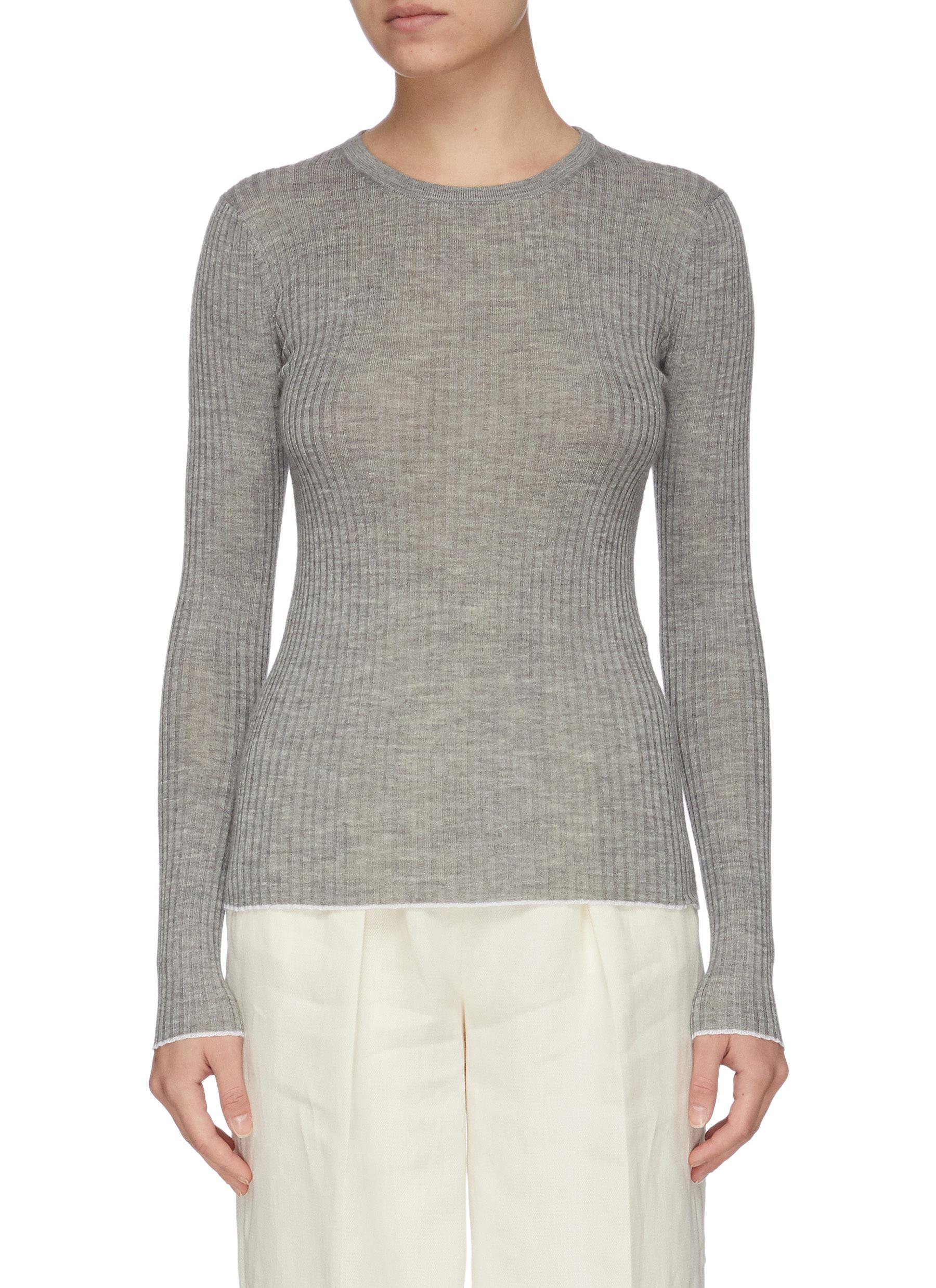 Gabriela Hearst BROWNING' RIB KNIT CASHMERE SILK BLEND SWEATER