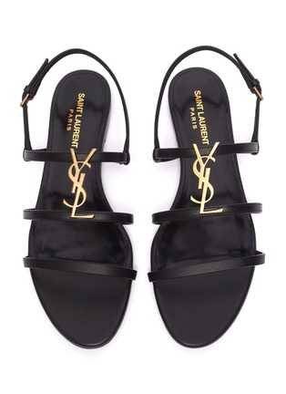Detail View - Click To Enlarge - SAINT LAURENT - 'Cassandra' logo plaque leather sandals