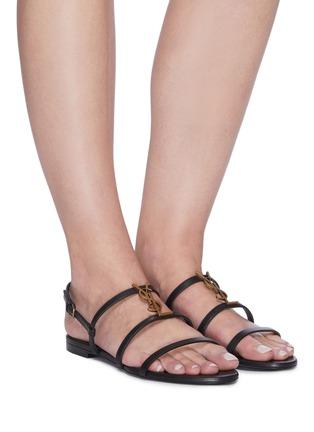 Figure View - Click To Enlarge - SAINT LAURENT - 'Cassandra' logo plaque leather sandals