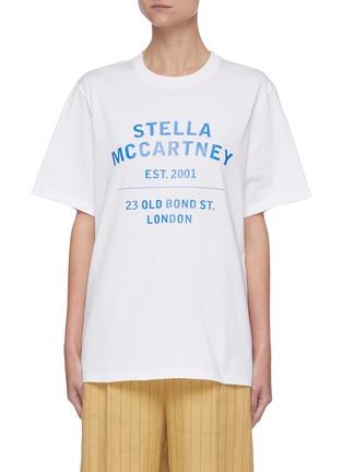 Main View - Click To Enlarge - STELLA MCCARTNEY - x Yoshitomo Nara Address Logo Print Cotton T-shirt