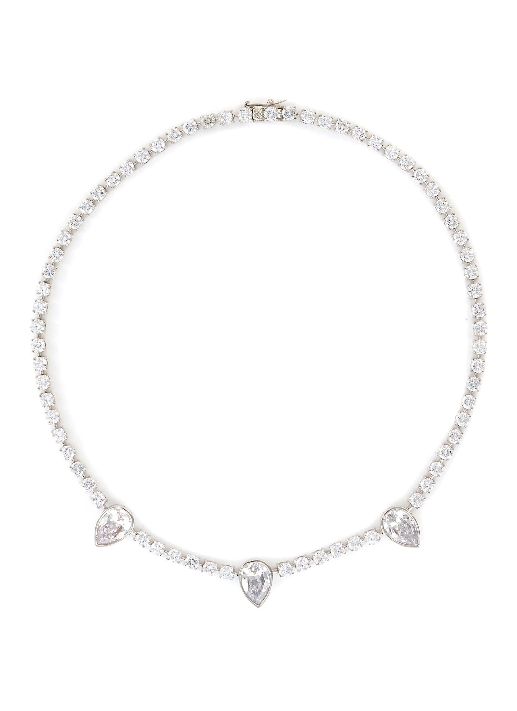 Pear cubic zirconia tennis necklace