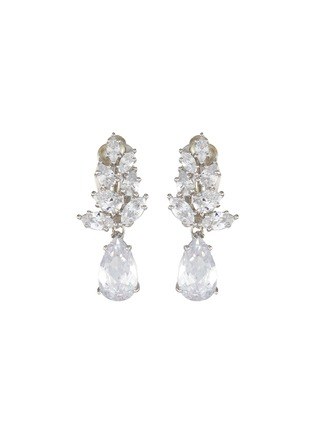 Main View - Click To Enlarge - CZ BY KENNETH JAY LANE - Foliate cubic zirconia drop clip earrings