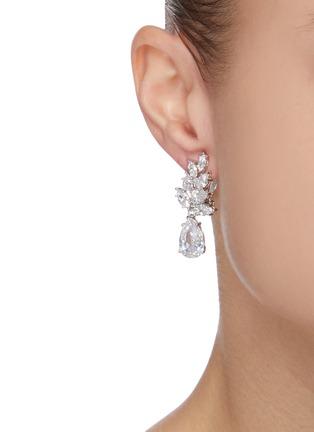 Figure View - Click To Enlarge - CZ BY KENNETH JAY LANE - Foliate cubic zirconia drop clip earrings