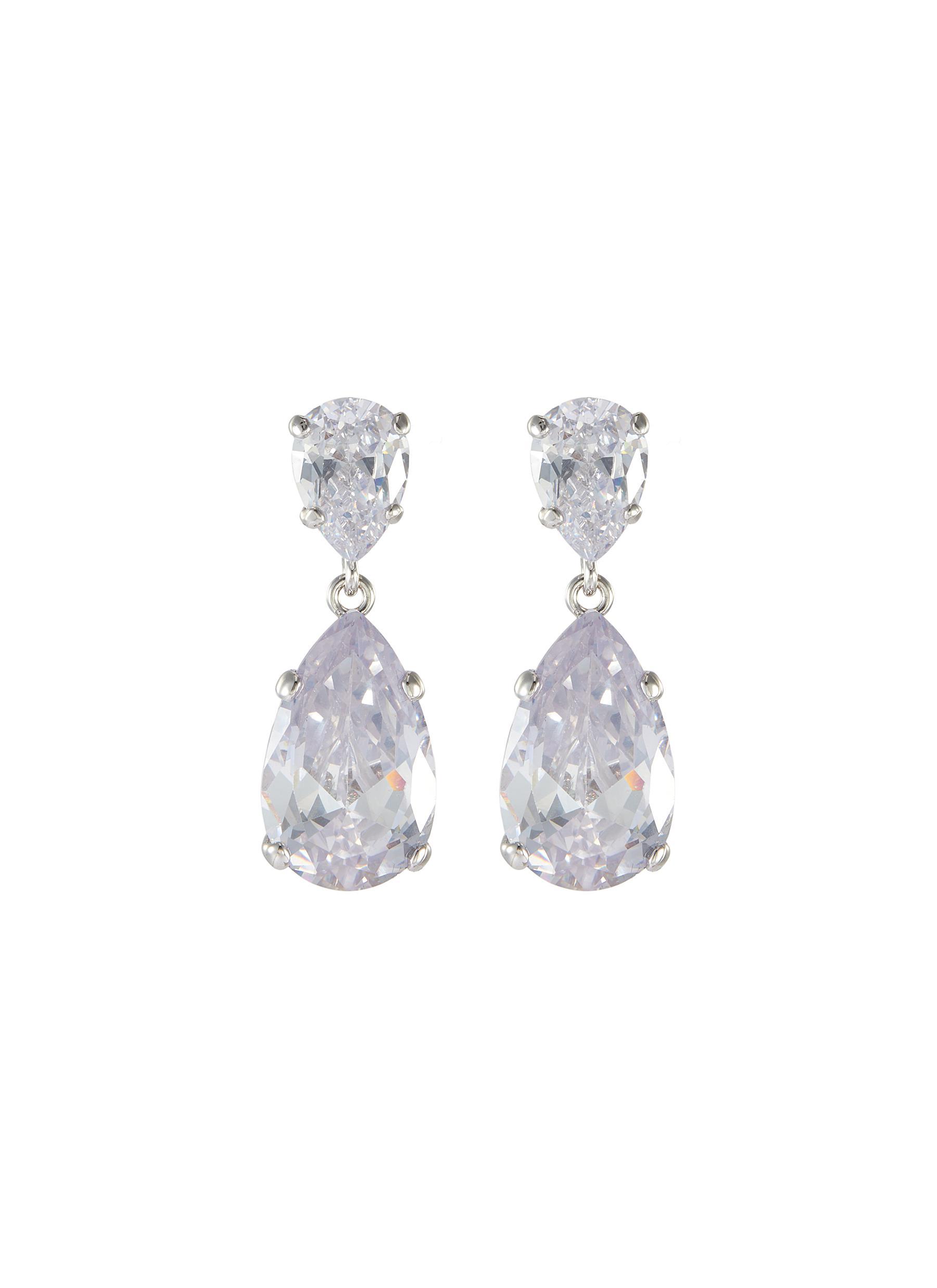 Double pear cut cubic zirconia drop earrings
