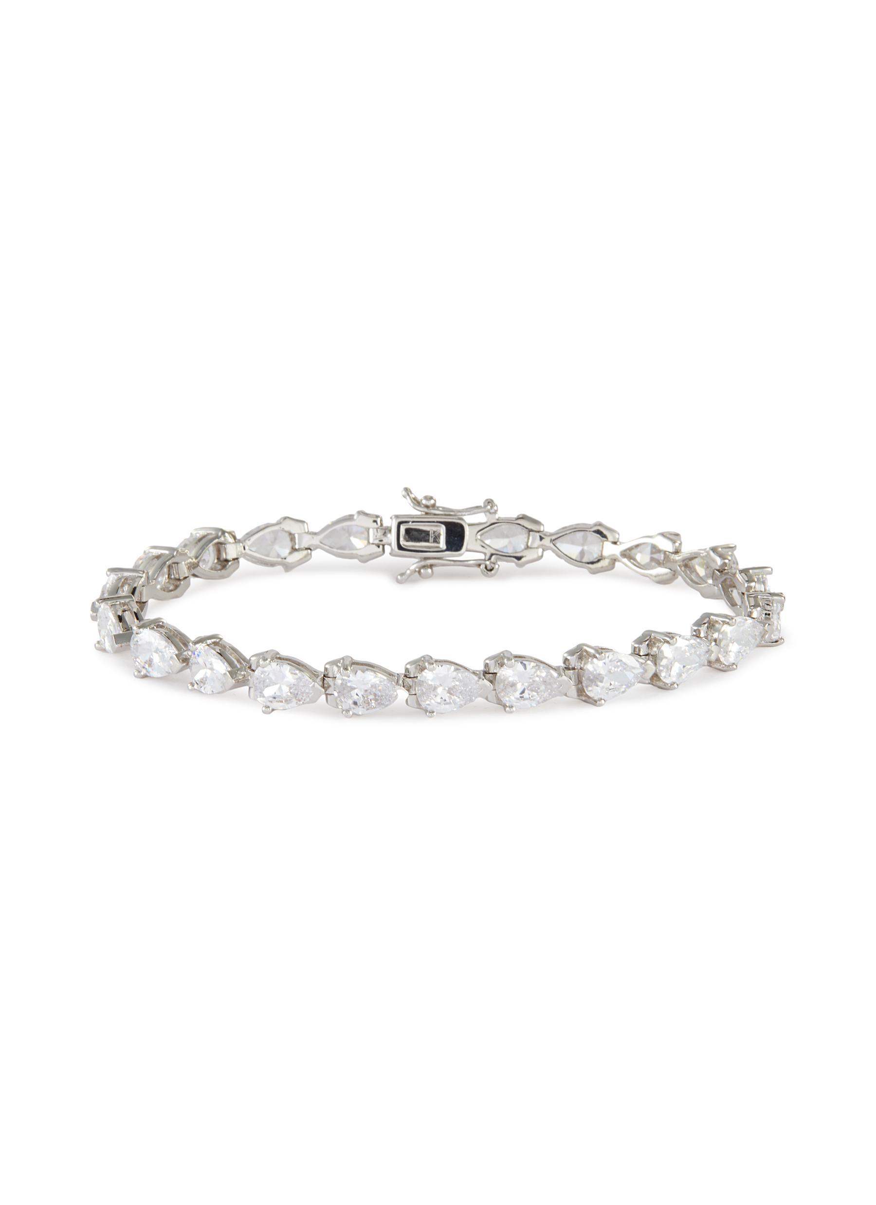 Pear cubic zirconia tennis bracelet