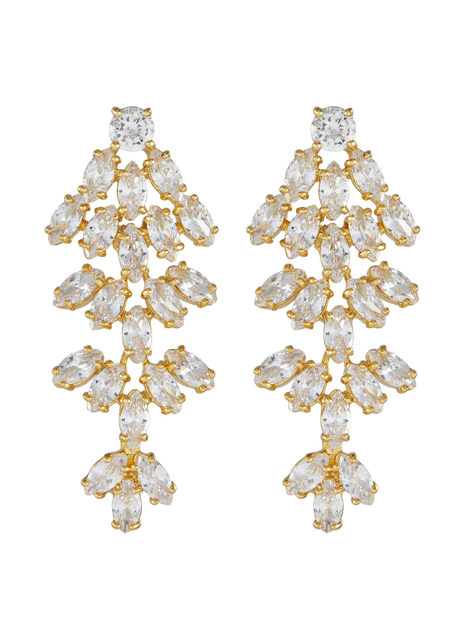 Cluster leaf cubic zirconia statement earrings