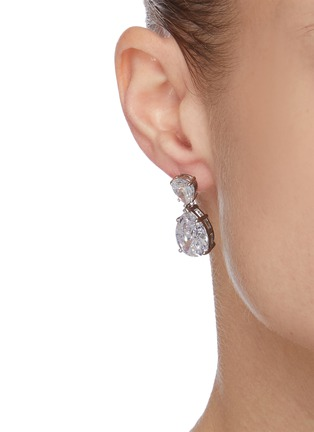 Figure View - Click To Enlarge - CZ BY KENNETH JAY LANE - Double pear cut cubic zirconia drop earrings