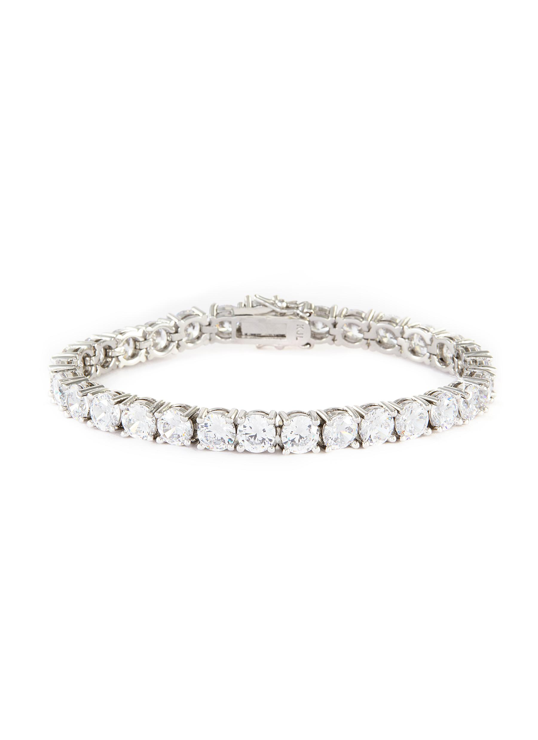 Round cubic zirconia statement bracelet