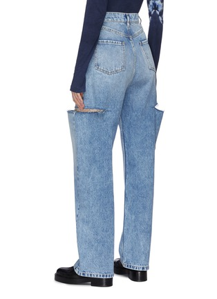 Back View - Click To Enlarge - MAISON MARGIELA - Side Cut-out Whiskered Denim Jeans