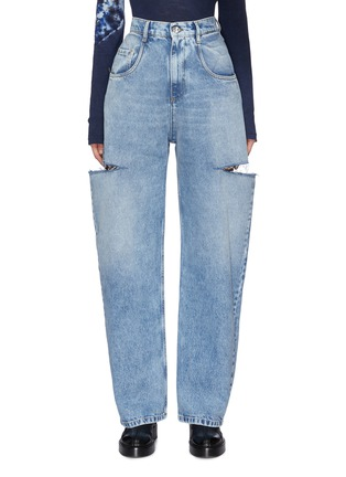 Main View - Click To Enlarge - MAISON MARGIELA - Side Cut-out Whiskered Denim Jeans
