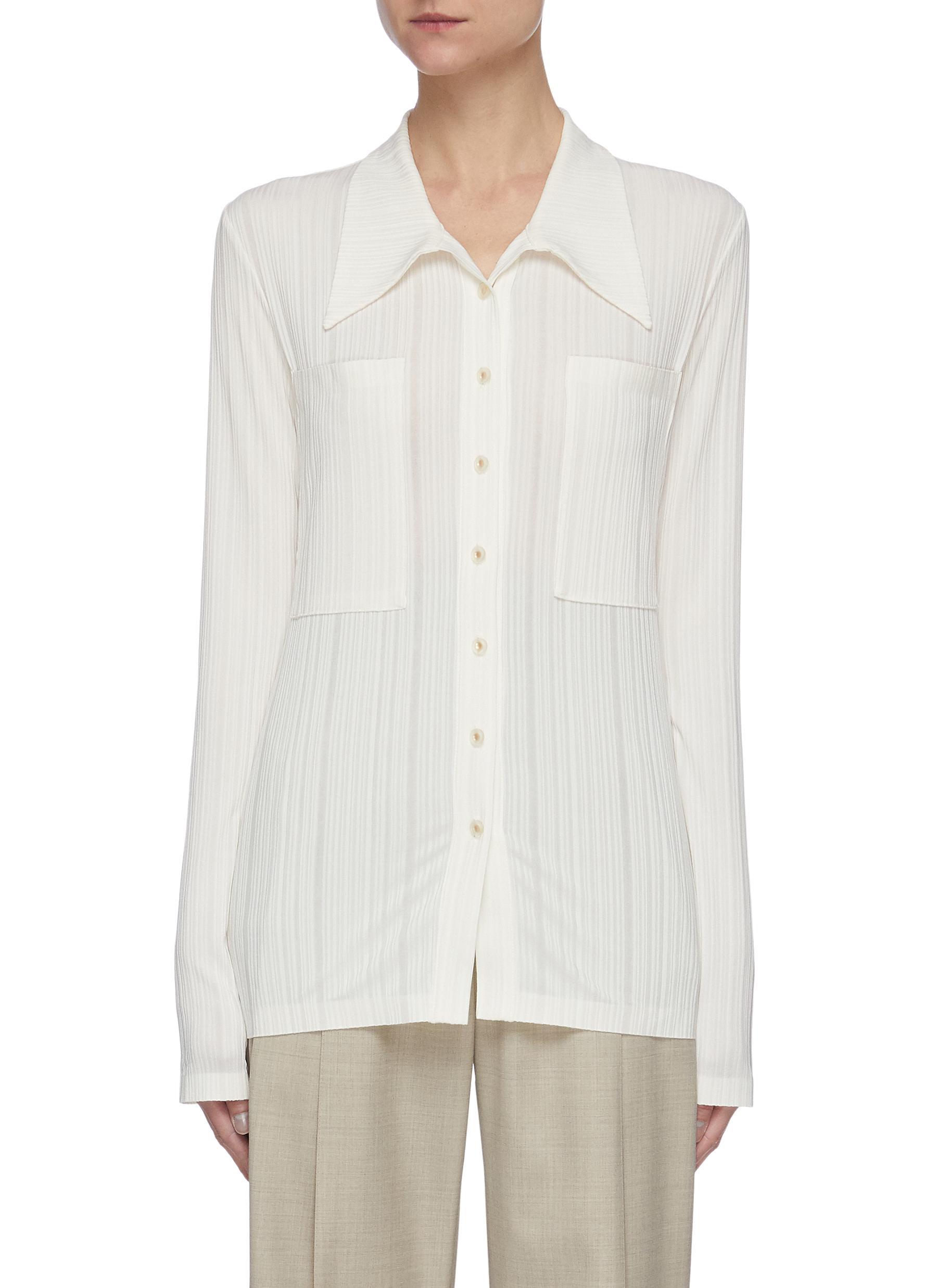 Low Classic Shirts OVERSIZE COLLAR PATCH POCKET STRIPE SHIRT