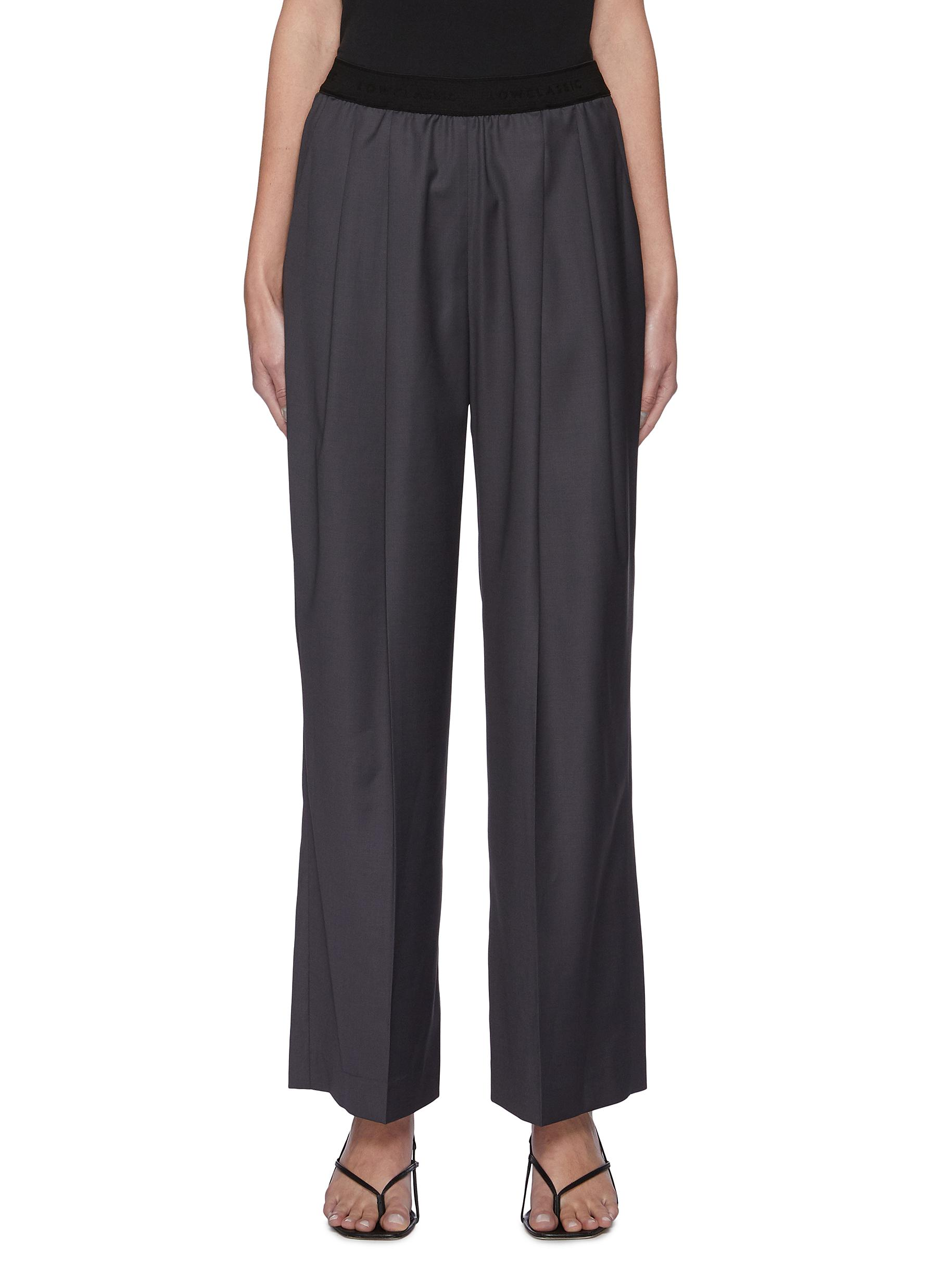Low Classic Wools ELASTIC WAIST FRONT PLEAT WOOL BLEND PANTS