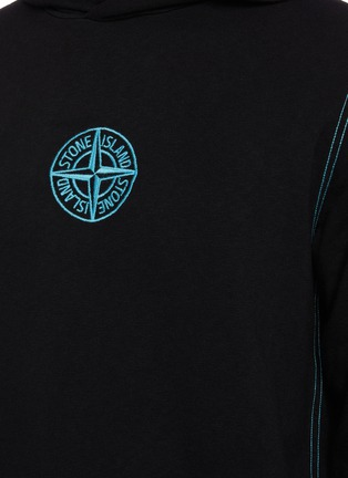 - STONE ISLAND - Malfilé fleece embroidered compass logo hoodie