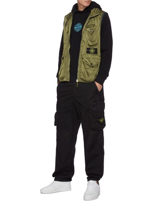 Figure View - Click To Enlarge - STONE ISLAND - Malfilé fleece embroidered compass logo hoodie