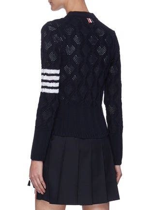 Back View - Click To Enlarge - THOM BROWNE - Heart cutout four bar cardigan