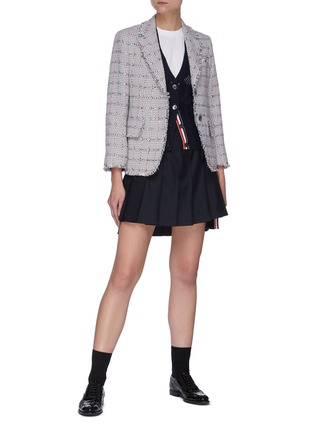 Figure View - Click To Enlarge - THOM BROWNE - Heart cutout four bar cardigan