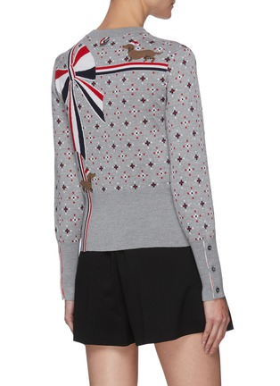 Back View - Click To Enlarge - THOM BROWNE - Patterned snowman wool sweater