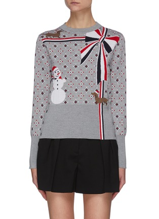 Main View - Click To Enlarge - THOM BROWNE - Patterned snowman wool sweater